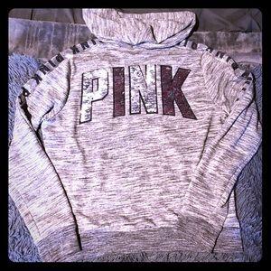 💕🆕VS PINK 2 tone sequin grey zip up hoodie